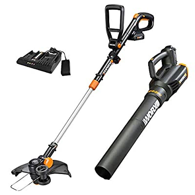 "Worx WG930.2 20V PowerShare 10"" Cordless String Trimmer & Turbine Blower Combo Kit, (2) 2.0Ah Batteries and Dual Charger"