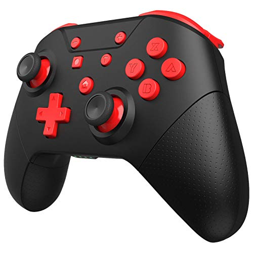 GCHT GAMING Wireless Controller for Nintendo Switch Remote Pro Controller with Wake Up, NFC, Turbo, Gyro Axis, Dual Shock (Black Rad)