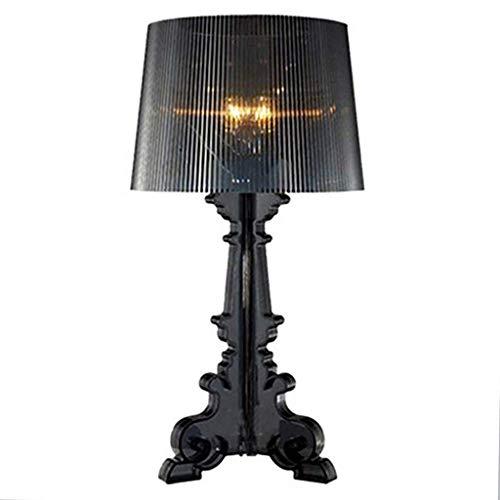 Lámpara de mesa de dormitorio estilo barroco de color negro, moderna lámpara de escritorio y lámpara de mesa, cuerpo único Phantom acrílico, luz nocturna para dormitorio, salón, altura 73 cm