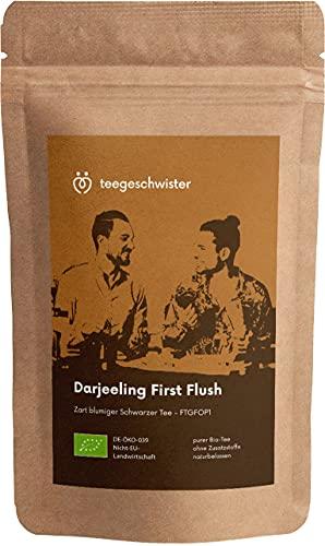 teegeschwister® | BIO Schwarzer Tee Darjeeling First Flush FTGFOP1 | loser premium Schwarztee aus dem Himalaya | ganze Blätter | ohne zugesetzte Aromastoffe | 90g