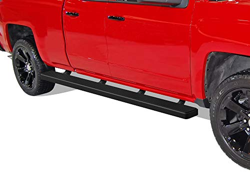 APS Wheel to Wheel Running Board 5in Compatible with Chevy Silverado GMC Sierra 2007-2018 Double Cab Extended Cab 6.5ft Bed & 2500 3500 2019 (Exclude 07 Classic) (Nerf Bars Side Steps Side Bars)