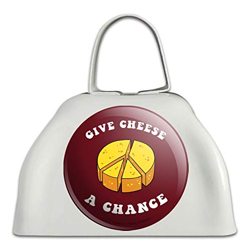 Give Cheese a Chance Peace Symbol Funny Humor White Metal Cowbell Cow Bell Instrument