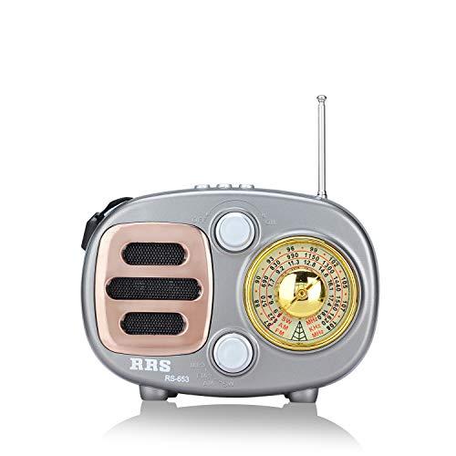 Songway Altavoz de Radio estéreo portátil con diseño clásico Vintage FM/Am/SW MP3, Bluetooth para inalámbrico, Compatible con Tarjeta TF/USB, con batería Recargable (Gris)