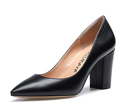 CASTAMERE Damen High Heels Spitzen Blockabsatz Pumps 8CM PU Schwarz Schuhe EU 38