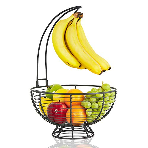 Large Fruit Basket With Banana Hanger- Regal Trunk Rustic French Farmhouse Fruit Bowl With Banana Holder Tree   Vegetable and Fruit Holder With...