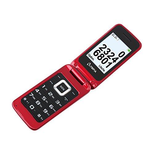 OLYMPIA Luna - Seniorenhandy – rot✓ Große Tasten ✓ Notruf-Taste ✓ Klappbares Großtasten-Handy | Mobiltelefon für Senioren/Rentner ohne Vertrag | Altersgerechtes Klapphandy mit Tasten