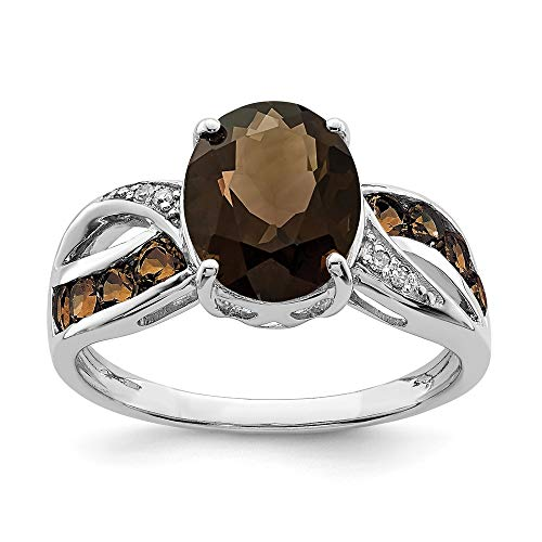 Solid 925 Sterling Silver Diamond and Chocolate Brown Smoky Quartz Engagement Ring Size 10 (.02 cttw.)