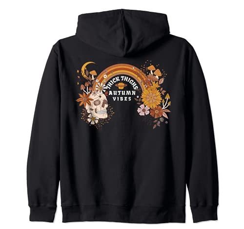 Boho Skull Halloween Witchy Spooky Thick Thighs Autumn Vibes Zip Hoodie