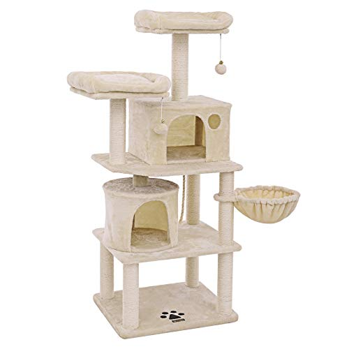 FEANDREA Stabiler Kratzbaum mit Sisal-Kratzstangen, Plüsch-Sitzmulden, Einem Korb und 2 Häuschen, Kletterbaum für Katzen, Beige PCT90M
