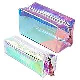 SUNSK Trousse olografica trasparente Laser Astuccio per matite Astuccio per Trucchi Borsa da Viaggio ufficio cancelleria 2 Pezzi