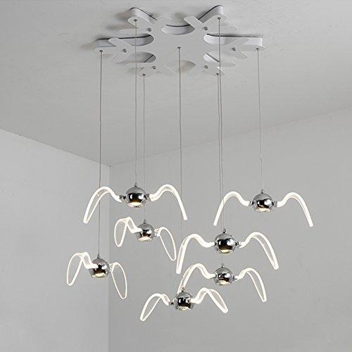 OOFAY LED Lustre Mouette Creative Moderne Simple Design Art Bar Restaurant Lumière 7 Tête