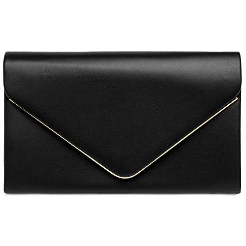 Caspar TA413 Damen elegante Clutch Tasche Abendtasche mit langer Kette, Farbe:schwarz, Größe:One...