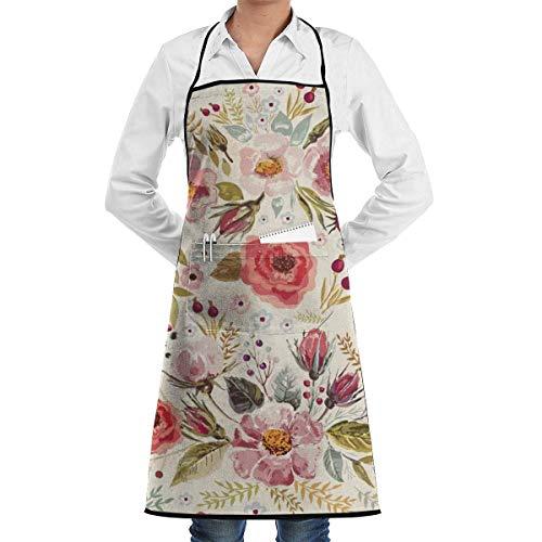 DayToy Schürze Kochschürze Küchenschürze Grillschürze BlumeSchürze zum Backen Garten Restaurant Grill mit 2 Taschen 20,5 x 28,4 Zoll