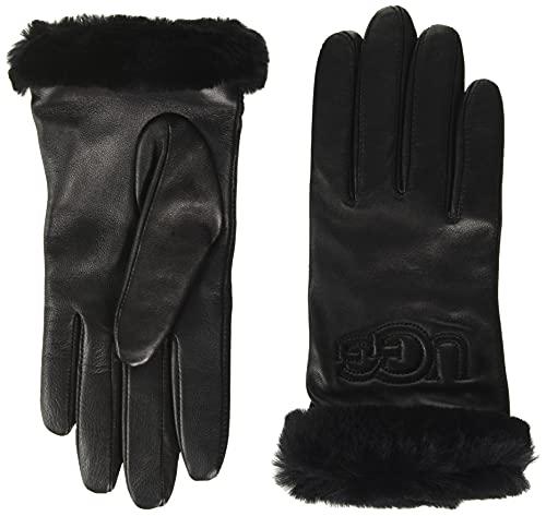 UGG Glove Guante W Classic Leather Logo, Black, Medium para Mujer