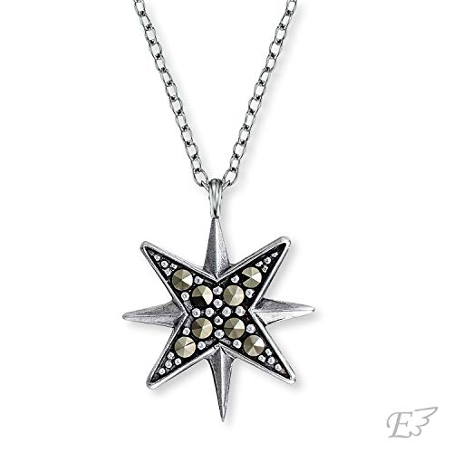 Engelsrufer - Damen Kette aus 925 Sterlingsilber mit Stern Anhänger und Markasit Edelsteinen, silberne Frauen Halskette mit Sternenanhänger & Markasitsteinen