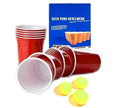 BeerCup Lot de 100gobelets pour jouer au Beer Pong Cups 16oz. (473ml) Rouge Avec Balles et règles de jeu de Beer Pong