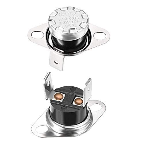 DyniLao KSD301 Termostato 95 ° C   203 ° F 10A NC Regola l interruttore della temperatura del disco a scatto per microonde, forno, macchina del caffè 2 pezzi