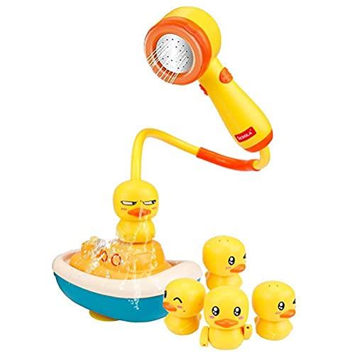 Vssictor 5 mini patos juguete de baño Paddling piscina juego verano agua diversión juguetes para niños, bañera flotante pato barco rociadores amarillo pato juguetes divertidos juguetes de baño