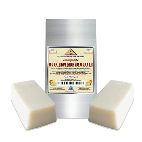 Organic Unrefined Raw MANGO BUTTER JAR/BLOCKS Bulk, Light Mango Aroma, Non-Greasy Base for Beauty, Skin Moisturizing, DIY Base for Body Butter & Hand Creams (2 LB)