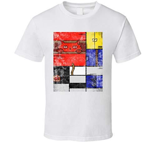 Mondrian Squares - Camiseta de cuadros famosos con diseño de gato, co