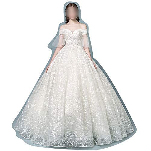 ZSRHH-Kleid Frauenkleid Hochzeitskleid Braut Tüll Prinzessin Traum (Farbe : Beige, Size : XL)