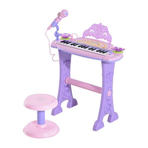 HOMCOM Teclado Electrónico Infantil 32 Teclas Juguete Musical con Micrófono Taburete Luces Variedad Sonidos Rítmos Melodias MP3 Karaoke Modo de Enseñanza Rosa