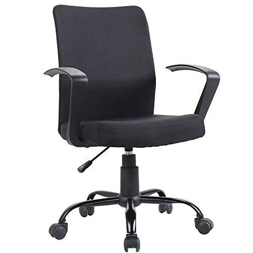 WCURT, Computer Büro Konferenzraum Arbeitsstuhl, höhenverstellbarer 360 ° Drehstuhl, ergonomischer Stuhl, schwarz grau-Black