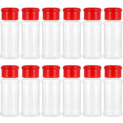 Tarro de plástico para Especias, 12 Piezas, salero, pimentero, Tarro para condimentos, para Barbacoa, Frasco para condimentos, Botellas, Recipiente para vinagrera, Hierbas y Polvos (Rojo)