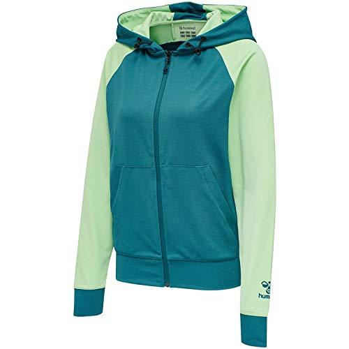 Hummel Damen Hmlaction Zip Hoodie Woman Sweatshirt, BLUE CORAL/GREEN ASH, M