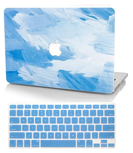 KECC Laptop Case for New MacBook Air 13' Retina (2019/2018, Touch ID) w/Keyboard Cover Plastic Hard Shell Case A1932 2 in 1 Bundle (Blue - Water Paint)