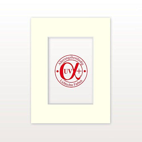 """Passepartout """"Altweiß"""" - Außen: 30 x 40 - Für Bildgröße DIN A4 - Museumsqualität"""