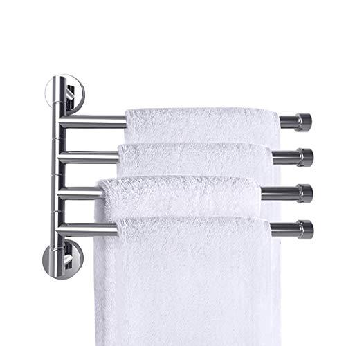 PHOEWON Vridbar handdukshållare krom rostfritt stål badställ väggmonterad handdukshållare med 4 vridbara stänger, svänghanddukshållare för kök, badrum, toalett