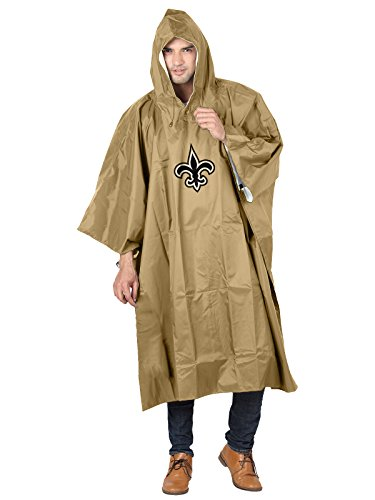 The Northwest Group Officially Licensed NFL New Orleans Saints Unisex Deluxe Poncho, Black, 44