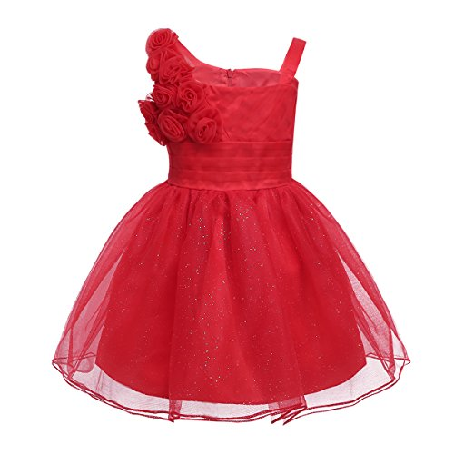 iEFiEL Babykleider festlich Baby Mädchen Taufkleid Hochzeit Prinzessin Kleider Tüll Partykleid Festzug 62 68 74 80 86 92 Rot 80-86