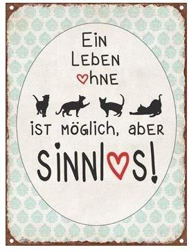 Unbekannt Metall Schild Nostalgie EIN Leben ohne Katze 15x20cm Wandschild Geschenk