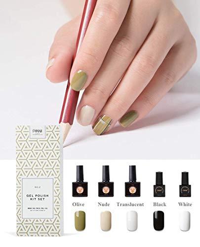 Set vernis à ongles en gel, coffret cadeau trousse d'art pour ongles, Salon de manucure professionnel UV semi-permanent avec vernis en gel UV, vert olive - Kaki kaki - Blanc translucide - Noir - blanc