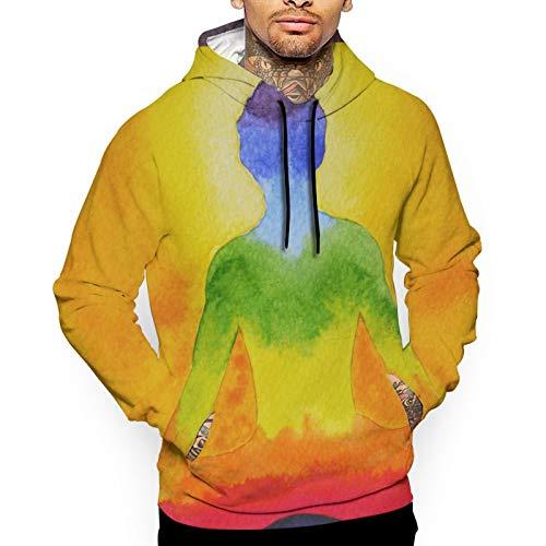 Bong6o Meditation Body Painting für Herren Mode Druck Sweatshirts Pullover Hoodie Top Kapuzenshirts Gr. Medium, weiß