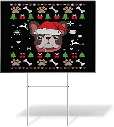 Frenchie Ugly Christmas Dog Santa Hat Xmas Yard Sign - Party Decor - 1 Piece (18'x12', 2 Sided).
