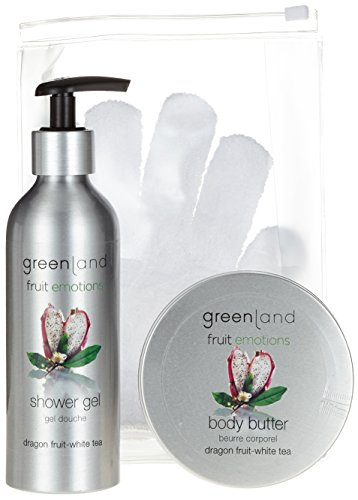 Greenland Cadeauset: scrub glove, douchegel 200 ml met pomp & body boter 120 ml, dragon fruit white tea