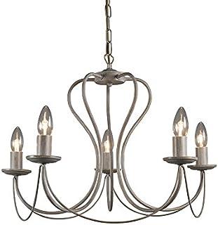 Qazqa Lustre | Chandelier Classique Rustique - Como Lampe Taupe - E14 - Convient pour LED - 5 x 40 Watt