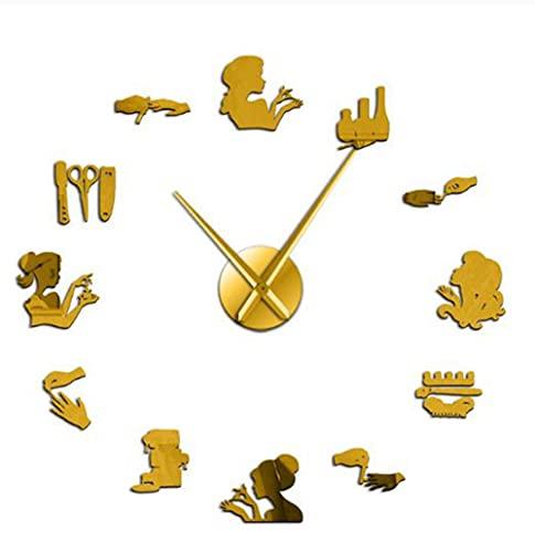 Herramienta de uñas Maquillaje Etiqueta de Espejo Acrílico DIY Reloj de Pared Grande Sin Marco Reloj silencioso Nail Beauty Salon Signo de Pared Decoración-Gold-37 Pulgadas
