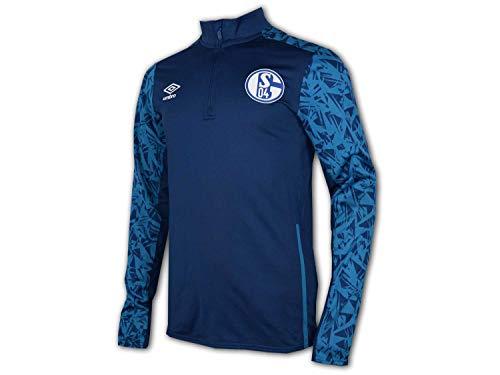 UMBRO Schalke 04 Half Zip Top 20/21 blau S04 Trainings Shirt Fußball Jersey, Größe:L