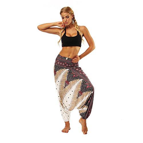 VECDY Damen Hosen Yogahosen Lässige Sommer lose Yoga-Hose Baggy Boho Aladdin Jumpsuit Haremshosen Stretchhose Tanzhosen Jogginghose Sporthosen