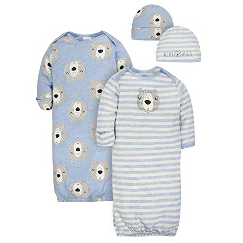 Gerber Baby Boys 4-Piece Organic Gown and Cap Set, Bear hugs, 0-6 Months