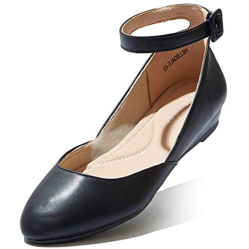 DailyShoes Women's Ankle Strap Low Wedge Flat Shoes D'Orsay Ballet Buckled Closed Point Toe Classic Slip On Dress Solid Round Hillsdale-02 Black Pu 7