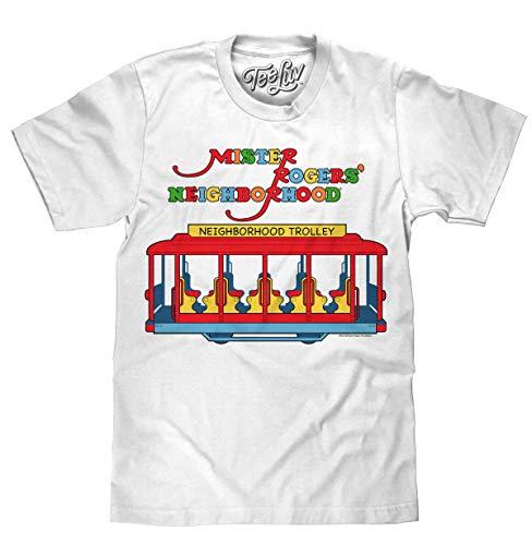 Tee Luv Mister Rogers Neighborhood Trolley T-Shirt (XX-Large) White