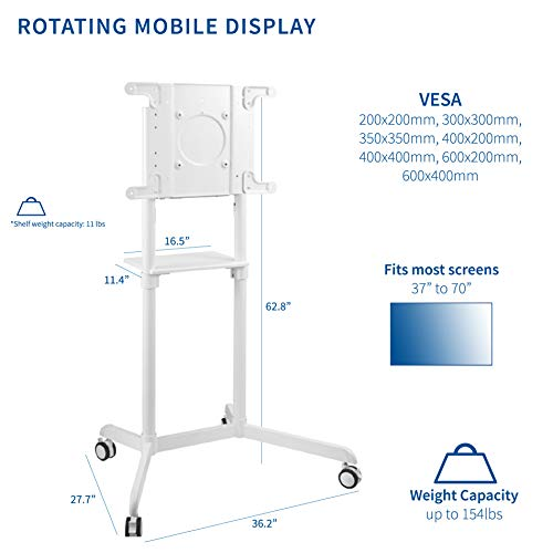 VIVO Mobile Premium TV Cart for 37 to 70 inch Flat Screens, Samsung Digital Flipchart, Microsoft Surface Hub 2S, Luxury Portrait to Landscape TV Display Stand with Wheels, White STAND-TV02PW Photo #6
