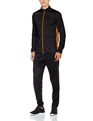 uhlsport Herren Essential Classic Anzug Trainingsanzug, schwarz/Fluo orange, L