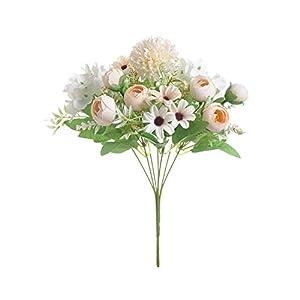 MUZIBLUE Artificial Flower| 7 Heads Hydrangea Flowers Artificial Bouquet Silk Blooming Fake Peony Bridal Hand Flower Roses Wedding Centerpieces Decor