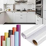DTC GmbH 0.61x6m klebefolie möbel möbelfolie selbstklebend, möbelfolie matt folie selbstklebend, klebefolie selbstklebende möbelfolie für Möbel Küche Schrank Tische Wand Weiß
